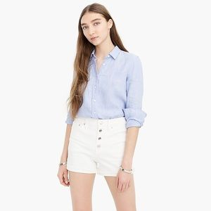 NWT J. Crew High Rise White Button Fly Jean Shorts
